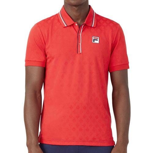 Fila Heritage Tennis Jaquard Polo Shirt Mens Chinese Red TM036845 622