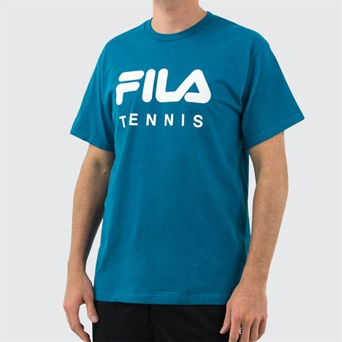 Fila Tennis Tee Shirt Mens Pacific/White TM833813 982