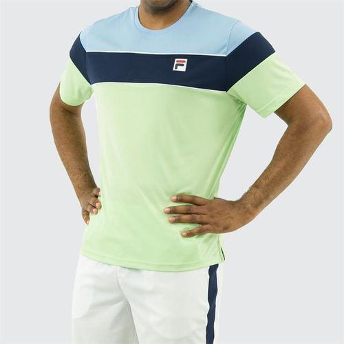 Fila Legend Colorblocked Crew Shirt, Pistachio Green/Placid Blue/Navy/White