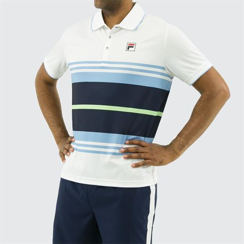 Fila Legend Striped Polo Shirt, White/Placid Blue/Navy