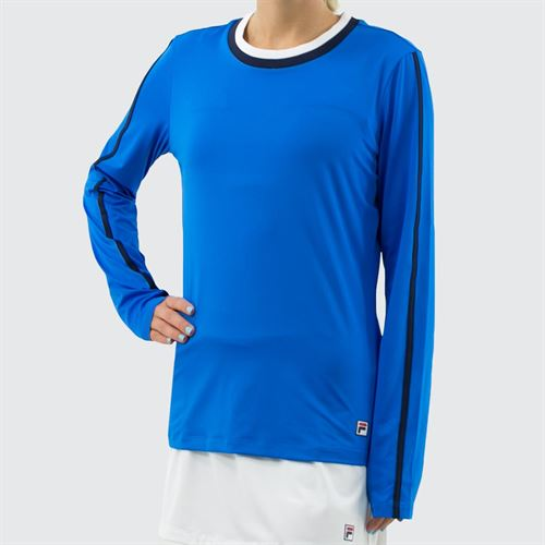 Fila Heritage Long Sleeve Top - Electric Blue/Navy