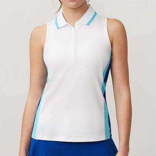 Fila Acqua Sleeveless Polo - White/Blue Curacao/French Blue