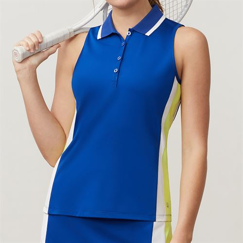 Fila Aqua Sleeveless Polo - French Blue/White/Sharp Green