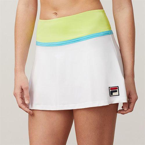 Fila Aqua Flare Skirt - White/Sharp Green/French Blue