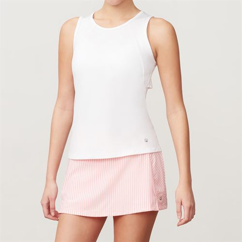 Fila Ruffle Full Coverage Tank - White/Light Pink