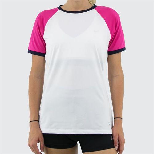 Fila Awning Short Sleeve Top Womens White/Fuchsia Purple/Navy TW933483 100