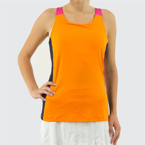 Fila Awning Colorblocked Tank Womens Orange Peel/Navy/Fuchsia Purple TW933484 815