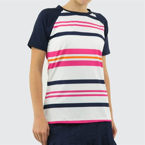 Fila Awning Striped Short Sleeve Top Womens Awning Stripe/Fuchsia Purple/White/Navy TW933487 101