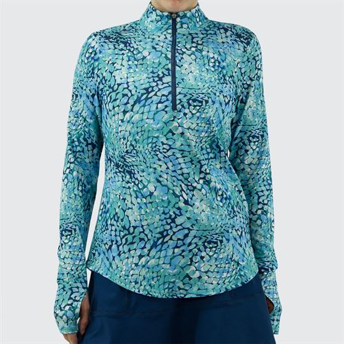 Jofit Hot Toddy UV Mock 1/4 Zip Long Sleeve Top Womens Cove Mosaic Print UT105 CMP