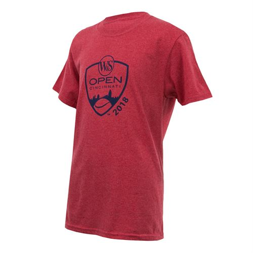 Western and Southern Open Kids Shield Tee - Heather Red