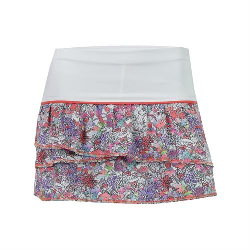 Lucky in Love Girls Picture Perfect Pleat Tier Skirt - Flame