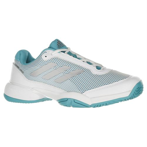 adidas Junior Barricade Club XJ Tennis Shoe - Aqua/White/Silver
