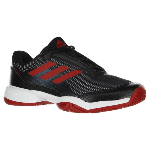adidas Junior Barricade Club XJ Tennis Shoe - Black/Scarlet/White