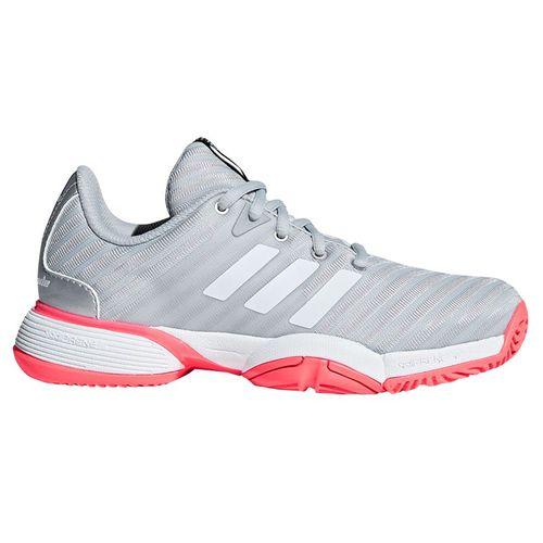 adidas Junior Barricade 2018 XJ Tennis Shoe - Silver/White/Red