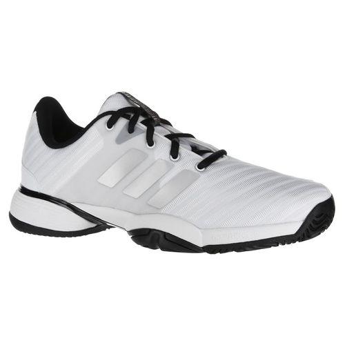 adidas Junior Barricade 2018 XJ Tennis Shoe - White/Silver/Black