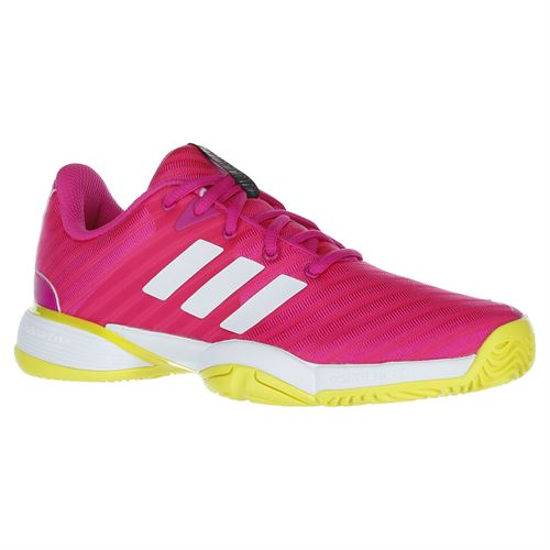 adidas Junior Barricade 2018 XJ Tennis Shoe - Pink/White/Yellow