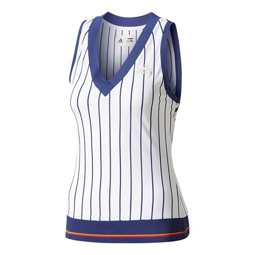 56ad4401f6d30 adidas Pharrell Williams NY Striped Tank. adidas NY Striped Tank - White Dark  Blue