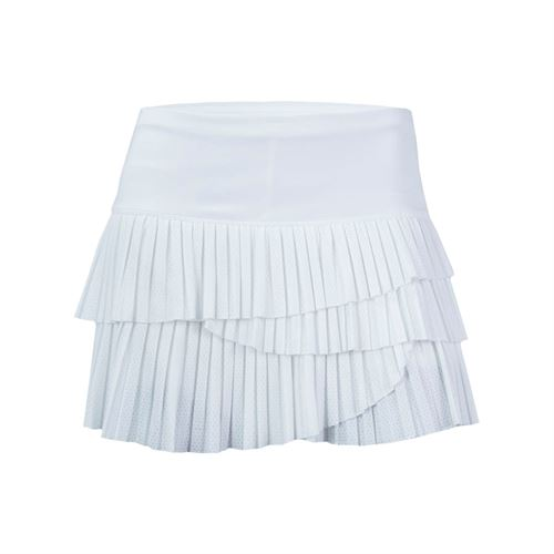 Lucky in Love Pindot Pleated Scallop Skirt - White