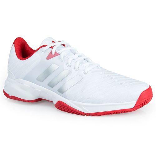 adidas barricade court 3 Mens Tennis Shoe - White/Metallic Silver/Scarlet