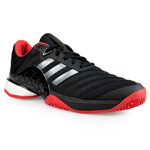 1f6cc531322f adidas barricade 2018 boost Mens Tennis Shoe - Core Black Night  Metallic Scarlet