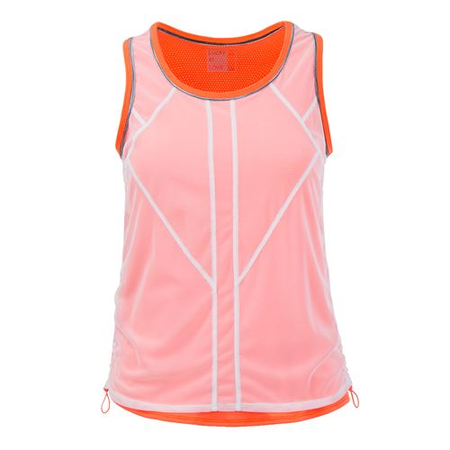 Lucky in Love Spaced Out Chill Fit Mesh Layered Bungee Tank - Orange Glow