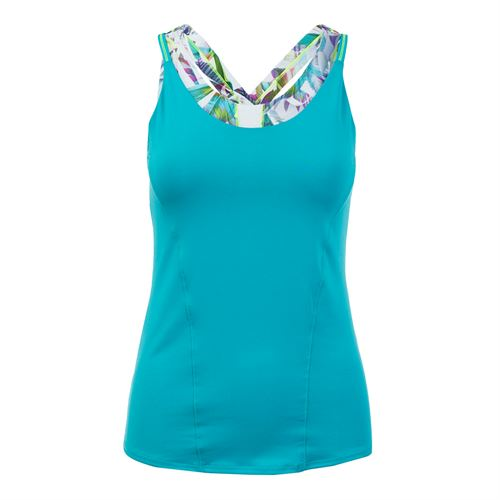 Lucky in Love Haviana Active Fit Floral Breeze Cami - Aquamarine