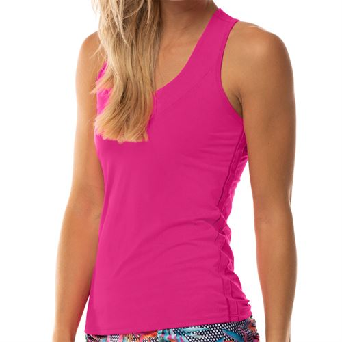Lucky in Love Core V Neck Tank - Spark Pink