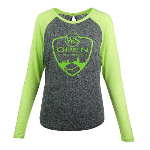 W&S Open Logo Neon Long sleeve Raglan Top - Grey/Green