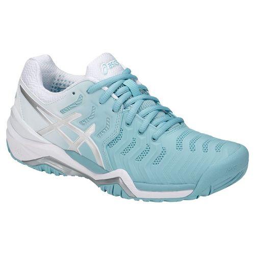 Asics Gel Resolution 7 Womens Tennis Shoe - Porecelain Blue/Silver/White