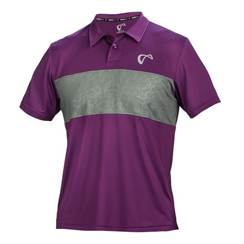 Athletic DNA Chest Panel Polo - Smoked Pearl/Eggplant
