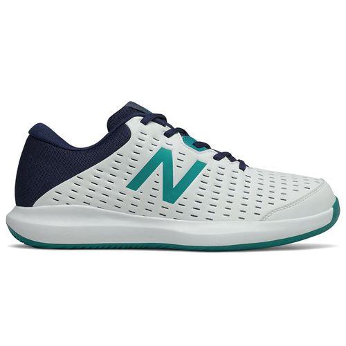 New Balance 696v4 (2E) Mens Tennis Shoe - White/Navy/Teal