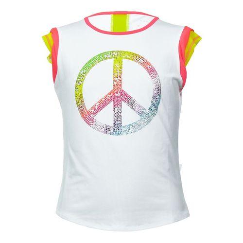Lucky In Love Girls Nano Rainbow Mesh Cap Sleeve Shirt - Coral