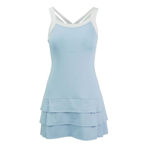DUC Grace Fashion Strappy Dress - Light Blue/White