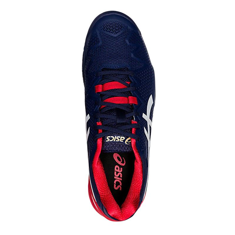 Asics Resolution 8 Mens Tennis Shoe - Navy/White/Red | Midwest Sports
