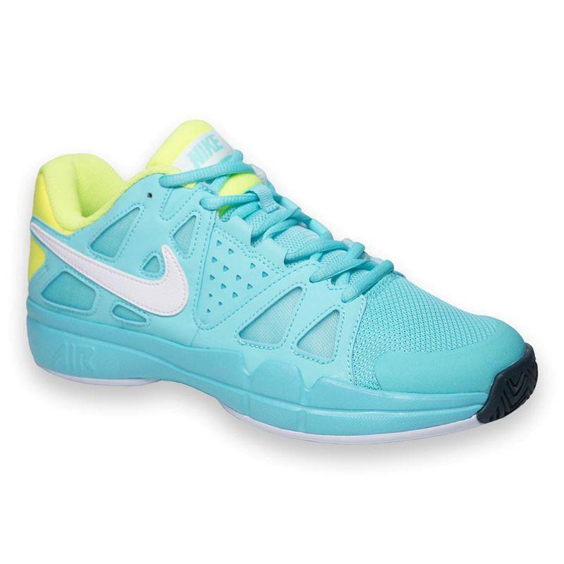 NIKE Zoom Vapor 9 Tour Ladies Tennis Shoes, White/Grey/Yellow, US8
