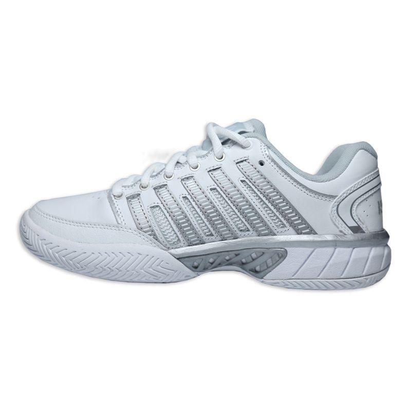 K Swiss Hypercourt Express Leather Womens Tennis Shoe White Silver