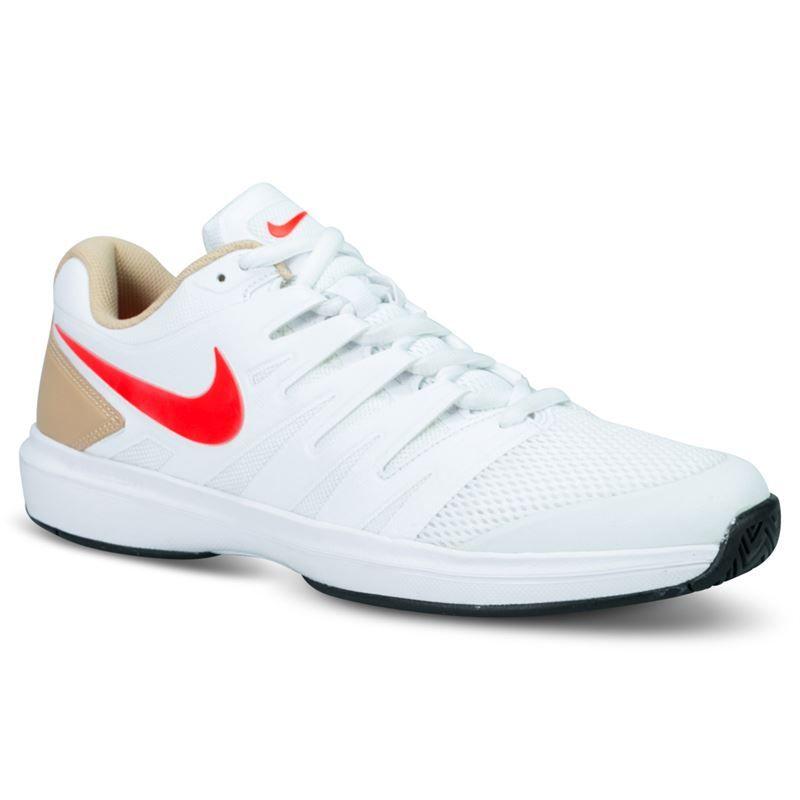 268e3de4c3 Nike Air Zoom Prestige Mens Tennis Shoe - White Bright Crimson Bio Beige .  Zoom