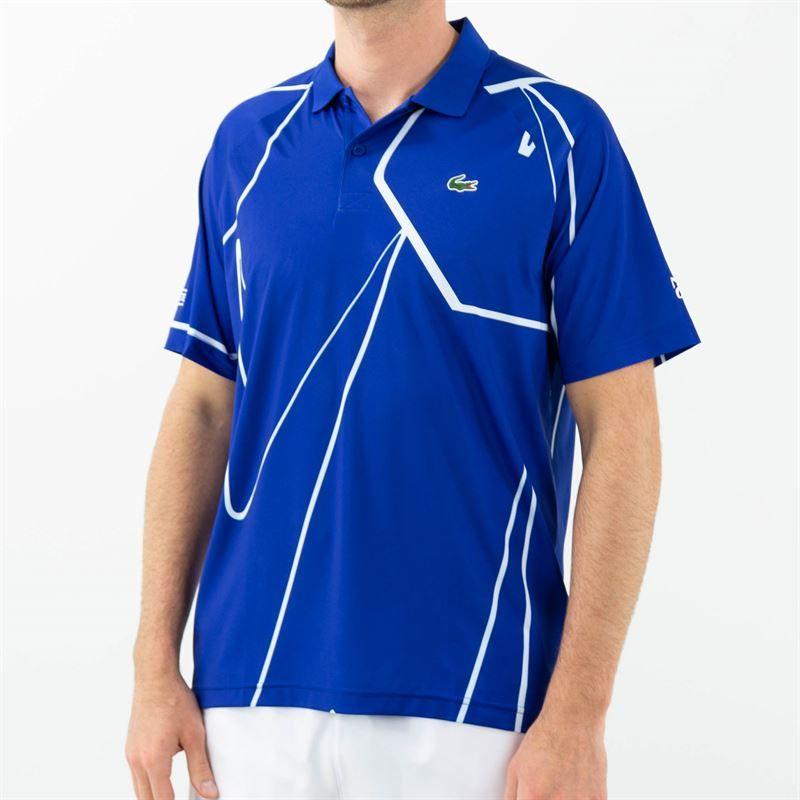 Lacoste Novak Djokovic Ultra Dry Vertical Polo Shirt Royal Blue White Midwes