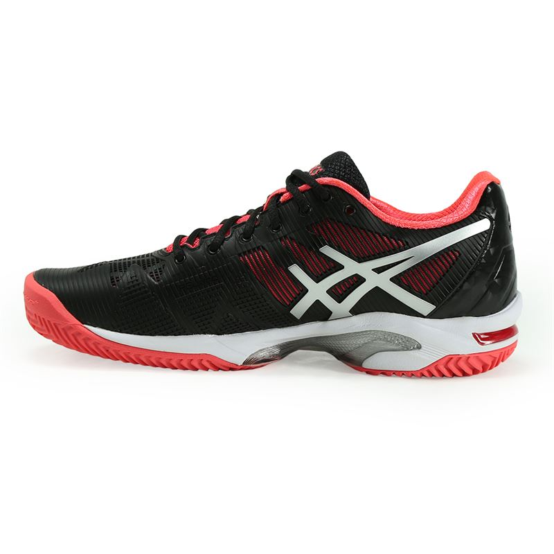 98c19a46a Asics Gel Solution Speed 3 Clay Womens Tennis Shoe | Black/Silver ...