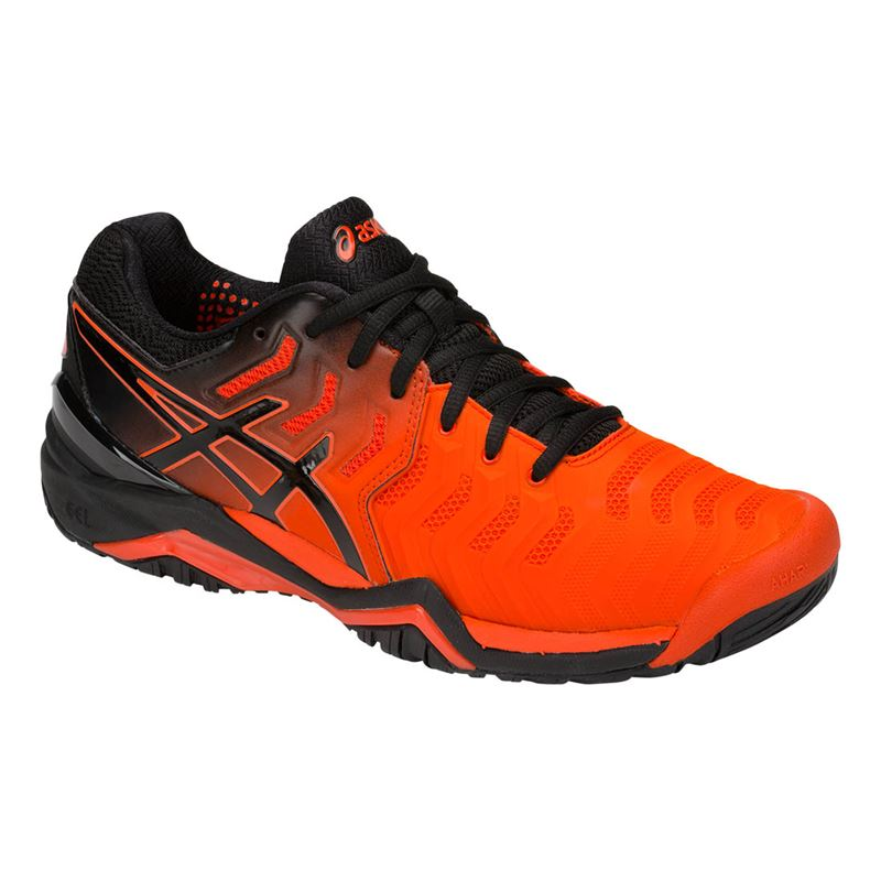4784a0c57c7c62 Asics Gel Resolution 7 Mens Tennis Shoe - Cherry Tomato Black. Zoom