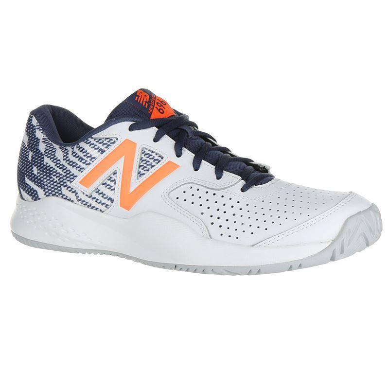 4edb43f18872b New Balance MCH696M3 (D) Mens Tennis Shoe - White/Dark Mango. Zoom