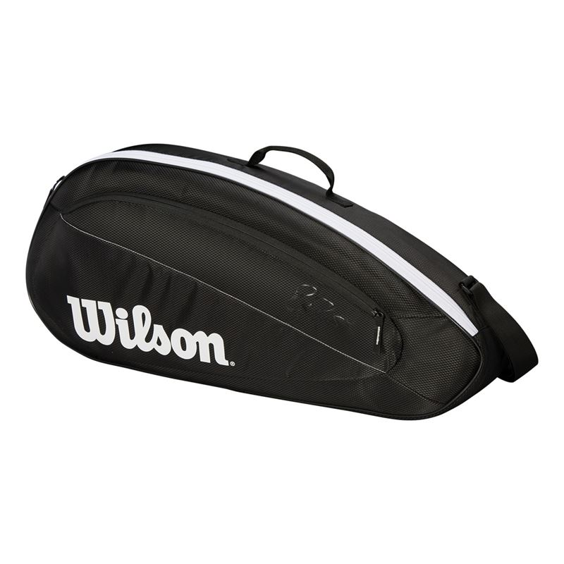 Black//White Wilson Sporting Goods Fed Team 3 Pack Tennis Bag
