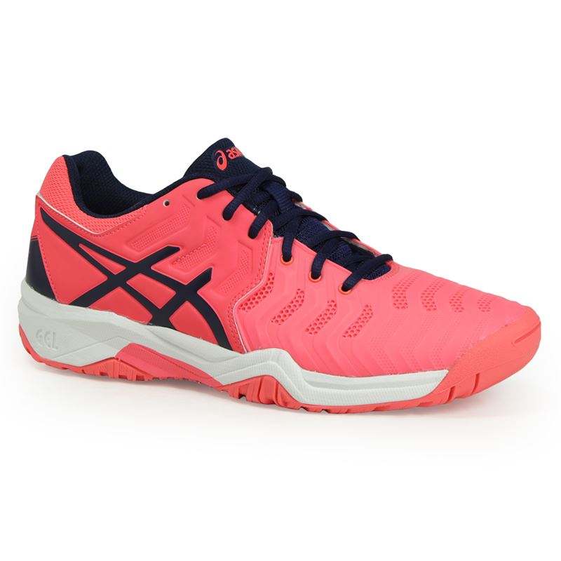 Asics Gel Resolution  White Blue Junior Shoe