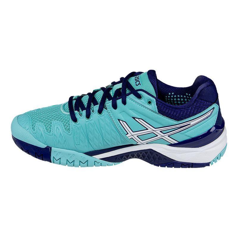 asics gel resolution 6 womens tennis shoe pool blue white