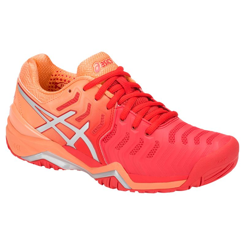 99d719ce1541 Asics Gel Resolution 7 Womens Tennis Shoe - Red Alert Silver. Zoom