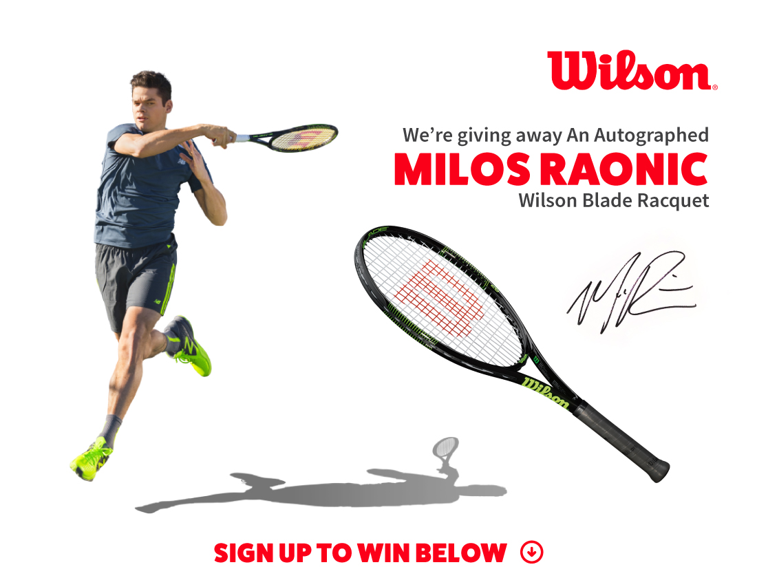 Milos Raonic Autographed Blade Racquet Giveaway