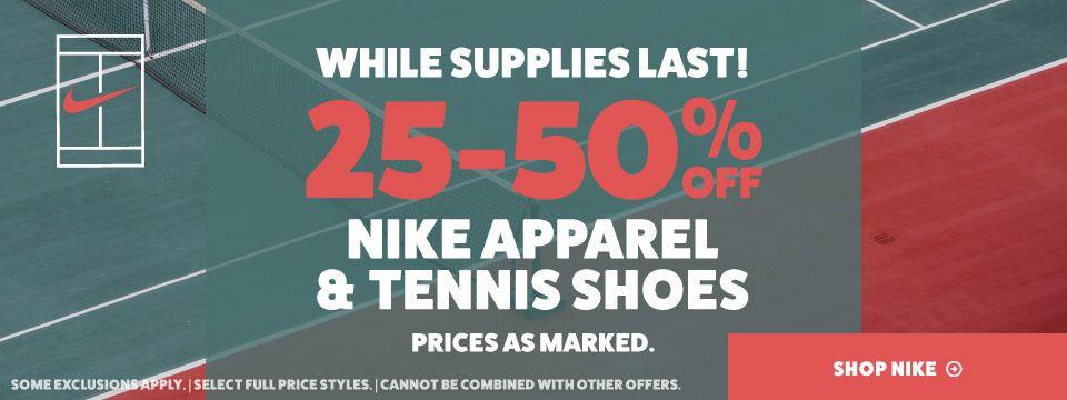 Sale Nike Tennis Apparel and Footwear