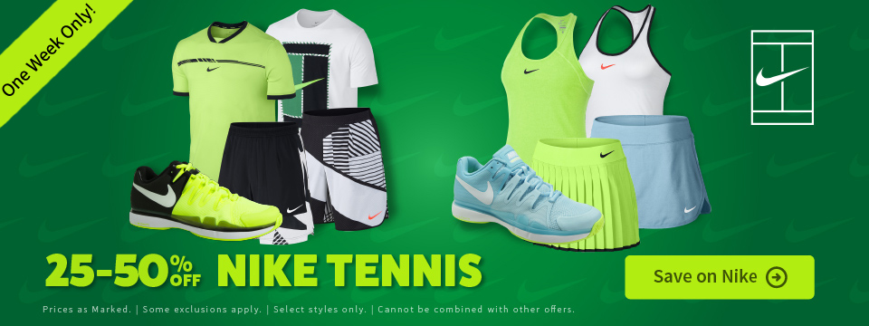 Sale Nike Tennis Apparel and Footwear