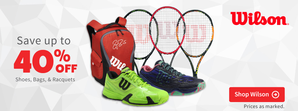Save on Wilson tennis shoes bags and apparel