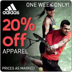 Take an extra 20% Off adidas Apparel prices as marked